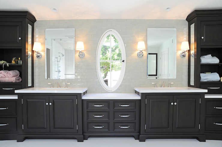 Black Vanity Transitional Bathroom Kelly Baron