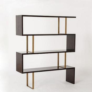 Storage Furniture - Addison Staggered Bookcase | west elm - staggered bookcase, staggered bookshelves, modern brass and wood bookcase, mid-century style bookcase,