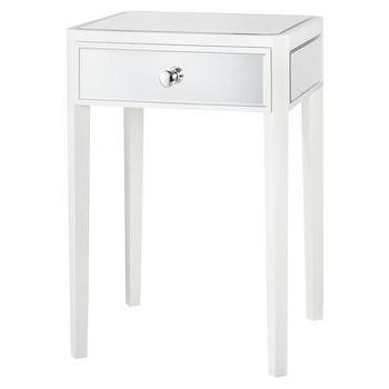 Storage Furniture - Threshold Mirrored and White Accent Table I Target - white mirrored accent table, white accent table with mirrored drawer, mirrored white accent table,