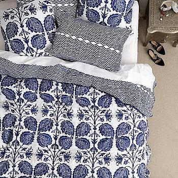 Bedding - Jasmine Quilt I anthropologie.com - blue and white floral bedding, oversize floral print bedding, blue and white botanical bedding, dark blue and white floral bedding,