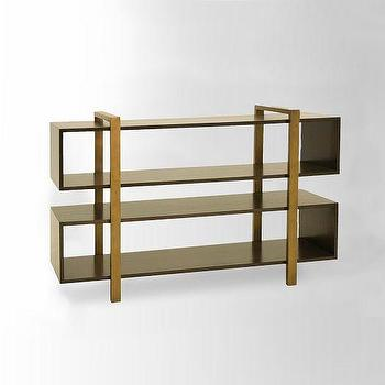 Storage Furniture - Addison Staggered Low Bookcase | west elm - staggered bookcase, brass framed bookcase, mid-century style bookcase,