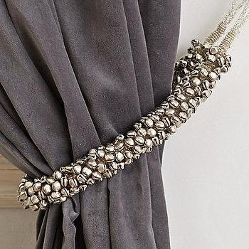 Window Treatments - Shimmer Bells Tieback I anthropologie.com - silver bells curtain tieback, silver bells tieback, silver curtain tieback, silver drapery tieback,