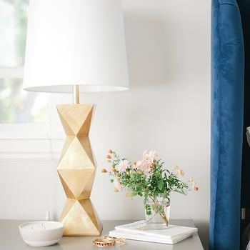 Gold Table Lamp, Vintage, bedroom, Sherwin Williams Gauntlet Gray, Emily Henderson