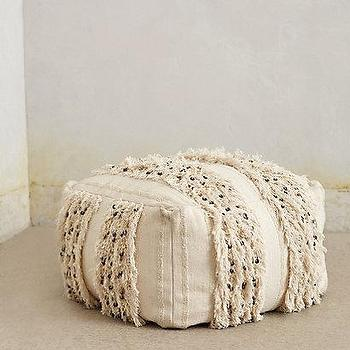 Seating - Glacial Fringe Pouf I anthropologie.com - moroccan wedding blanket pouf, moroccan pouf, square shaped moroccan wedding blanket pouf,