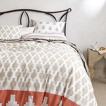Bedding - Granada Duvet I anthropologie.com - gray white and coral geometric duvet, greige white and coral geometric bedding, moroccan tiled print duvet, moroccan tiled patterned duvet,
