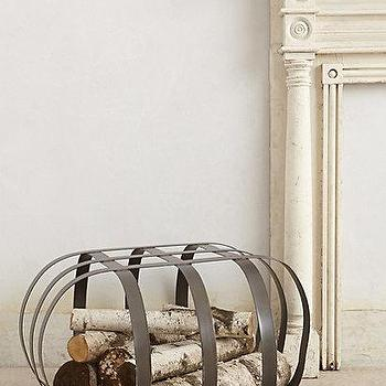 Decor/Accessories - Caged Log Holder I anthropologie.com - fireplace log holder, modern log holder, iron log holder, caged iron log holder,