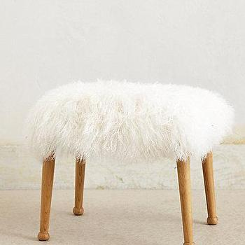 Threshold Faux Fur Foot Stool White I Target