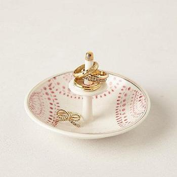 Decor/Accessories - Carousel Trinket Dish I anthropologie.com - pink and white ring dish, pink and white trinket dish, pink and white catchall dish,