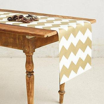 Decor/Accessories - Gilt Chevron Paper Table Runner I anthropologie.com - gold and white table runner, chevron paper table runner, gold and white chevron paper table runner,