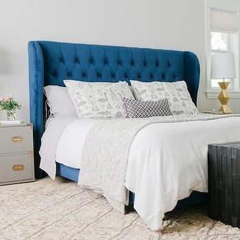 Gray Campaign Chest, Vintage, bedroom, Sherwin Williams Crushed Ice, Emily Henderson