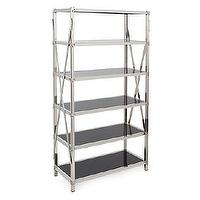 Storage Furniture - Flight Bookshelf | Z Gallerie - stainless steel bookshelf, stainless steel bookshelf with black glass shelves, black glass and stainless steel bookshelf,