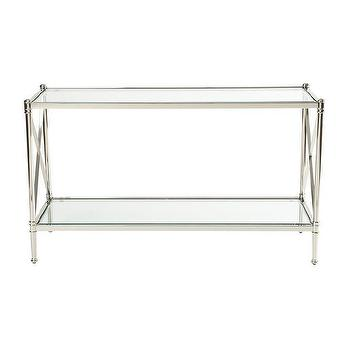 Tables - Jocelyn Console Table I Ethan Allen - polished nickel and glass console table, polished nickel console table, polished nickel console table with x-sides,