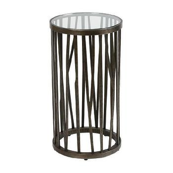 Tables - Branches Accent Table I Ethan Allen - round steel based side table, round steel based accent table, steel based accent table with beveled glass top,