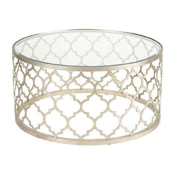 Tables - Tracery Coffee Table I Ethan Allen - round silver moroccan coffee table, round glass topped silver leafed moroccan based coffee table, silver moroccan tile shaped coffee table,