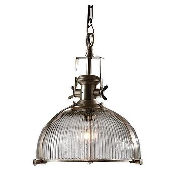 Lighting - Industrial Glass Pendant I Ethan Allen - industrial glass pendant, ribbed glass pendant, ribbed glass industrial pendant,