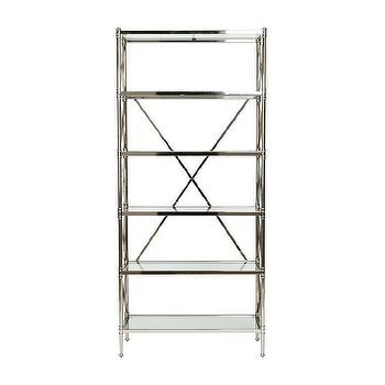 Storage Furniture - Jocelyn Etagere I Ethan Allen - polished nickel etagere, polished nickel and glass etagere, polished nickel x-back etagere,