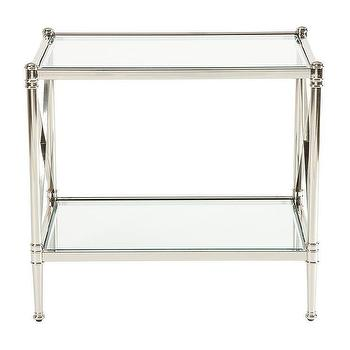 Tables - Jocelyn Side Table I Ethan Allen - polished nickel side table with glass top, polished nickel and glass accent table, polished nickel side table with glass shelf,