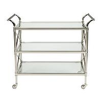 Storage Furniture - Jocelyn Serving Cart I Ethan Allen - polished nickel bar cart, polished nickel and glass bar cart, bar cart,
