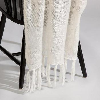 Decor/Accessories - Ivory Mohair Throw I Ethan Allen - ivory throw, ivory mohair throw, ivory fringed throw,