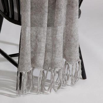 Decor/Accessories - Anthracite Mohair Throw I Ethan Allen - gray throw, gray mohair throw, gray fringed throw,