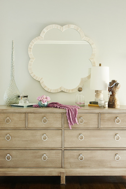Karen B Wolf Interiors - bedrooms - Made Goods Fiona Mirror, 8 drawer dresser, made goods mirror, decorative bust, alabaster lamp,  Chic bedroom
