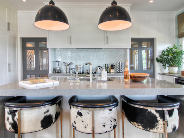 Cowhide Barstools Contemporary Kitchen Willey Design