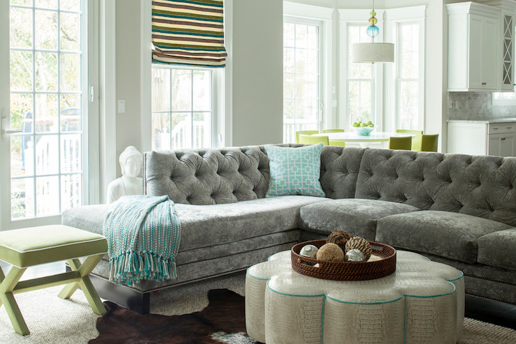 Gray Velvet Sectional Contemporary Living Room Karen