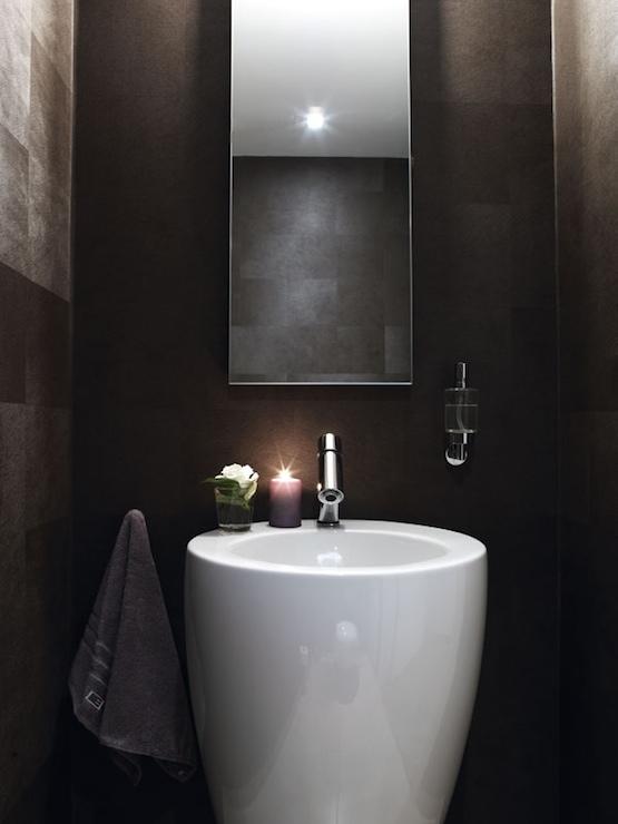 Small powder room modern bathroom for Contemporary powder room sinks