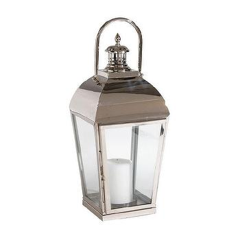Decor/Accessories - Polished Nickel Lantern I Ethan Allen - polished nickel lantern, polished nickel and glass lantern, polished nickel candle lantern,