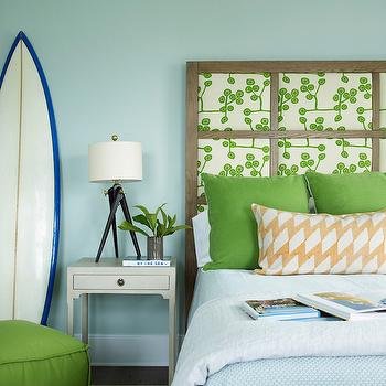 Coastal Living - boy's rooms - boys room, rainwashed, green gray walls, green gray paint, green gray paint colors, paneled headboard, wood paneled headboard, apple green pillows, light blue bedding, kids bedding, light gray bedside table, surfboard, green pouf, cube pouf, green cube pouf, bound sisal rug, boys bedroom, Tripod Table Lamp,