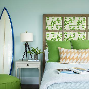Paneled Headboard, Cottage, boy's room, Sherwin Williams Rainwashed, Coastal Living