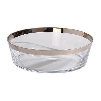 Decor/Accessories - Platinum-Banded Low Bowl I Ethan Allen - platinum bordered bowl, glass bowl with platinum band, low glass bowl with platinum banding,
