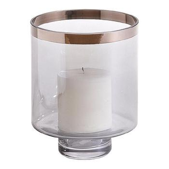 Decor/Accessories - Small Platinum-Band Hurricane I Ethan Allen - glass hurricane candle holder with platinum band, glass hurricane with platinum-toned band,