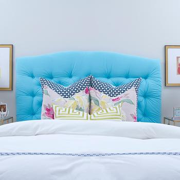 Turquoise Tufted Headboard, Contemporary, bedroom, Jana Bek Design