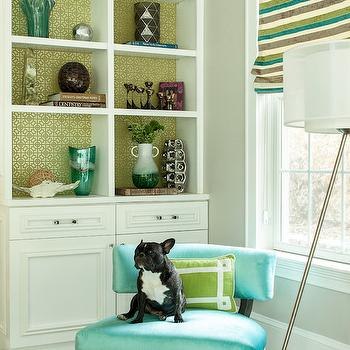 Turquoise Accent Chair, Contemporary, living room, Karen B Wolf Interiors