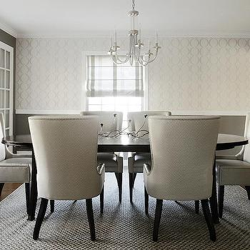 Karen B Wolf Interiors - dining rooms: white and gray dining room, wallpaper for dining room, dining room wallpaper, ivory and gray wallpaper, cream and gray wallpaper, gray walls, gray paint colors, 6 light chandelier, oval dining tables, espresso dining table, oval espresso dining table, studded dining chairs, dining chairs with nailhead trim, gray rug, gray jute rug, gray walls in dining room, gray paint in dining, dining room with gray walls, dining room with gray paint color, dining room window seat, window seat, built in window seat, gray cushions, gray pillows, gray dining room,