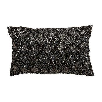 Pillows - Diamond Beaded Rectangular Pillow I Ethan Allen - black and gray beaded pillow, black and silver beaded pillow, charcoal gray beaded pillow,