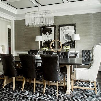 Karen B Wolf Interiors - dining rooms: striped curtains, horizontal stripe curtains, striped drapes, horizontal stripe drapes, horizontal striped curtains, horizontal striped drapes, black and white curtains, black and white drapes, black and white striped curtains, black and white striped drapes, gray grasscloth, gray grasscloth wallpaper, wainscoting, dining room wainscoting, wainscoting in dining room, faux python table, oval chandelier, oval crystal chandelier, trestle dining table, black dining chairs, leather dining chairs, black leather dining chairs, black tufted dining chairs, tufted leather dining chairs, chevron rug, black chevron rug, black and white rug, black and white chevron rug, captain chairs, captain dining chairs, wingback dining chairs, restoration hardware dining chairs,