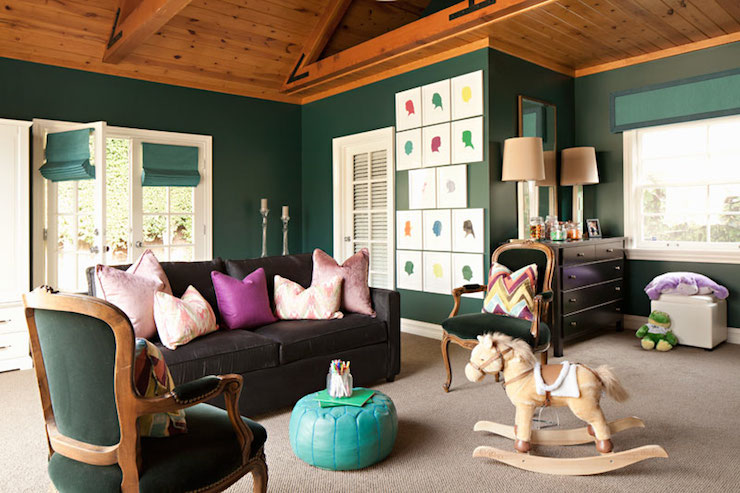 Hunter Green Walls Contemporary Nursery Jenn Feldman