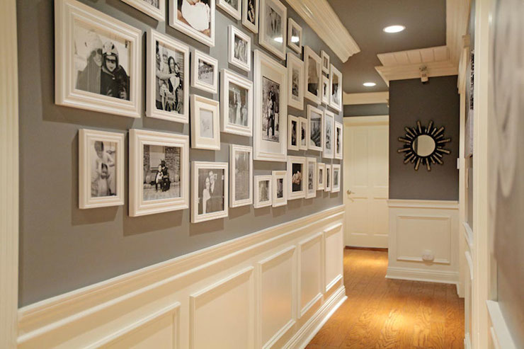 Hallway photo wall transitional entrance foyer jenn for Wall design in hall