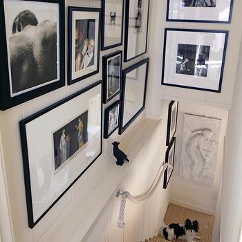 Stephen Shubel Design - entrances/foyers - staircase, staircase ideas, vertical wall panels, black and white photo wall, photo wall, stairc, patterned hand railase photo wall, rope hand rail, stair runner,