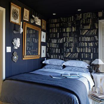 Wallpaper Headboard, Eclectic, bedroom, Stephen Shubel Design