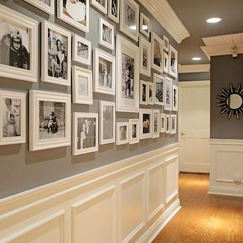Jenn Feldman Designs - entrances/foyers - foyer, hall, hallway, foyer hall, foyer hallway, dark gray walls, wainscoting, hall wainscoting, hallway wainscoting, wainscoting in hall, wainscoting in hallway, photo wall, black and white photo wall, gray ceiling, painted ceiling, dark gray ceiling,