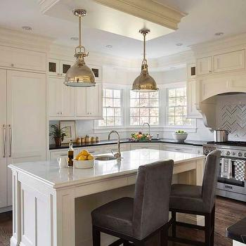 Gray Leather Barstools, Transitional, kitchen, Liz Caan Interiors