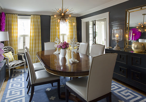 Yellow curtains eclectic dining room liz caan interiors - Yellow dining room curtains ...