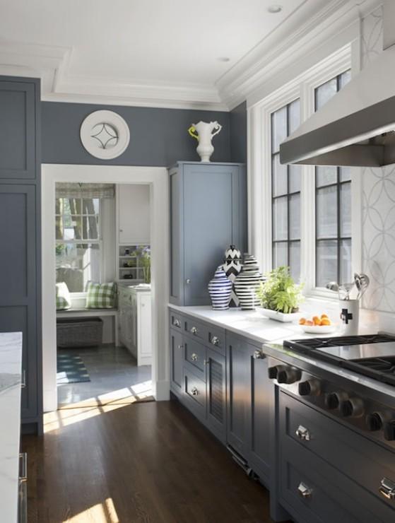 Blue Gray Cabinets Contemporary Kitchen Liz Caan