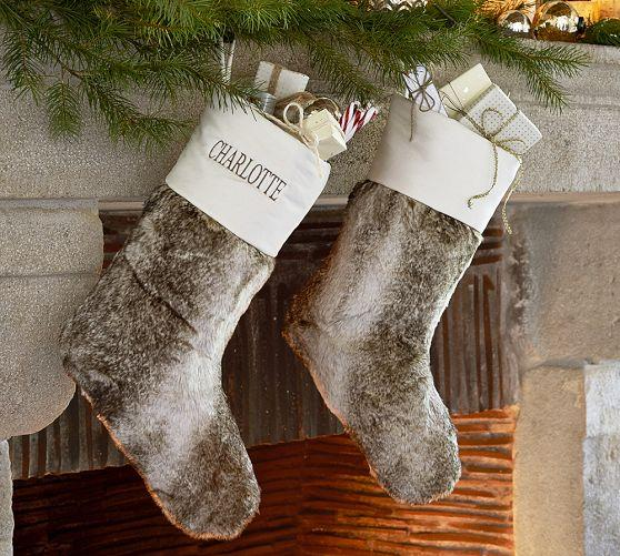 Faux Fur Stocking Pottery Barn