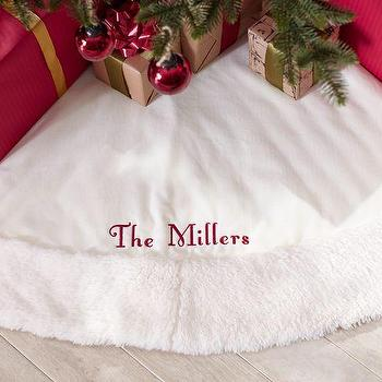 Miscellaneous - Velvet Treeskirt with Faux Sheepskin Border | Pottery Barn - white velvet treeskirt, white velvet treeskirt with faux sheepskin border, velvet and sheepskin christmas treeskirt,