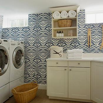 Wallpaper for Laundry Rooms, Contemporary, laundry room, Liz Caan Interiors