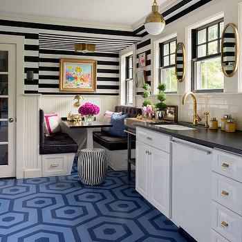 Liz Caan Interiors - kitchens: black and white ceiling, stripe ceiling, striped ceiling, black and white striped ceiling, black and white stripe walls, black and white striped walls, horizontal stripe wall, horizontal striped walls, black and white walls, dining nook, built in bench, brown tufted cushions, face to face benches, trestle dining table, black and white dining table, beadboard, kitchen beadboard, star flush mount, brass star flush mount, hicks pendant, brass hicks pendant, lighting over sink, pendant over sink, pendant over kitchen sink, brass faucet, antique brass faucet, kitchen brass faucet, gooseneck faucet, brass gooseneck faucet, white dishwasher, white cabinets, black countertops, subway tile, subway tiled backsplash, no upper cabinets, kitchen with no upper cabinets, kitchen with no top cabinets, oval mirrors, gold oval mirrors, hex floor, blue hex floor, geometric floor, blue geometric floor,